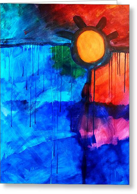 Fire And Ice Greeting Card by Nancy Merkle