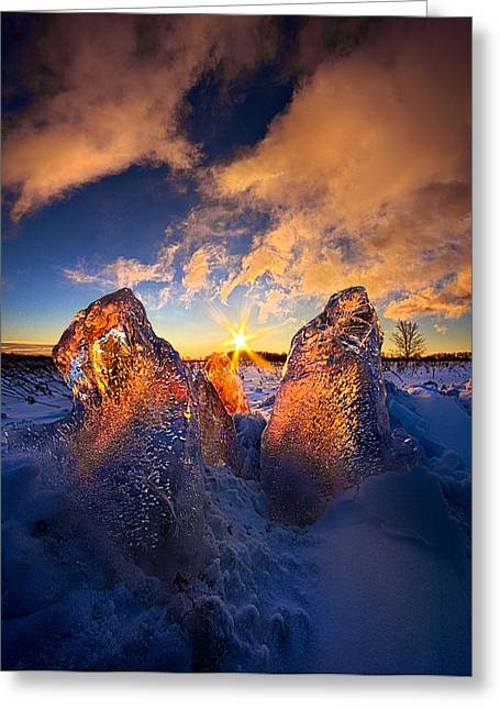 Fire And Ice Greeting Card by Phil Koch