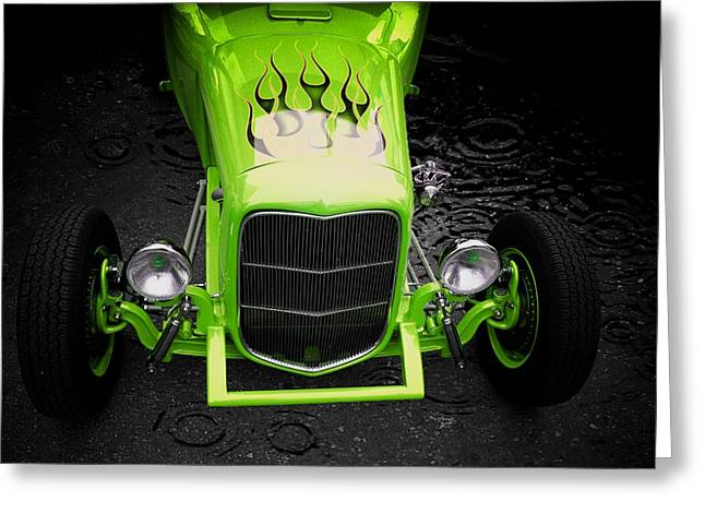 Classic Car Greeting Card featuring the photograph Fire And Water Green Version by Aaron Berg