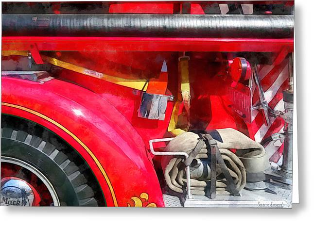 Fire Axe And Hose Greeting Card by Susan Savad