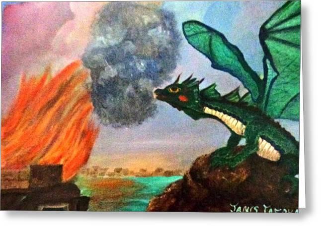 Fire Breathing Dragon Greeting Card by Janis  Tafoya