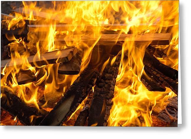 Fire - Burning Wood Greeting Card by Matthias Hauser