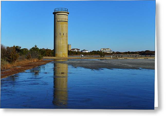 Fire Control Tower 3 Icy Reflection Greeting Card