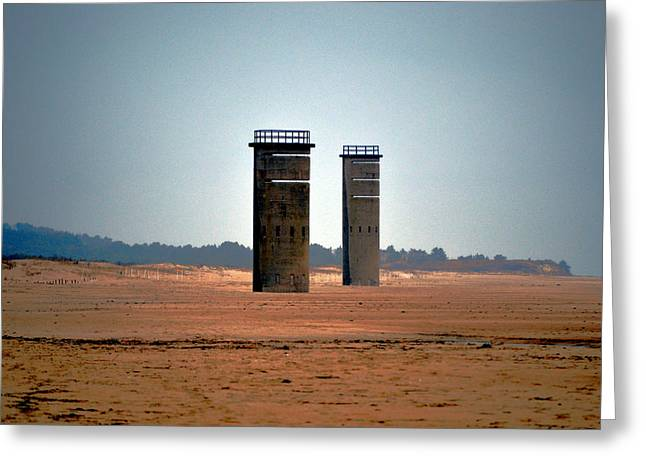 Greeting Card featuring the photograph Fct5 And Fct6 Fire Control Towers On The Beach by Bill Swartwout