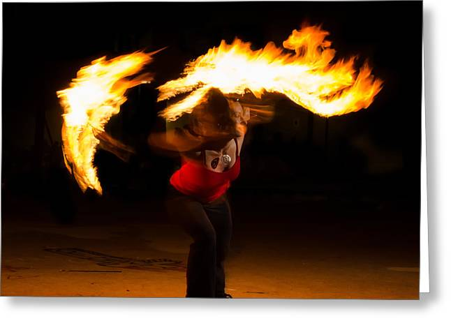 Fire Dancer Greeting Card by Tin Lung Chao