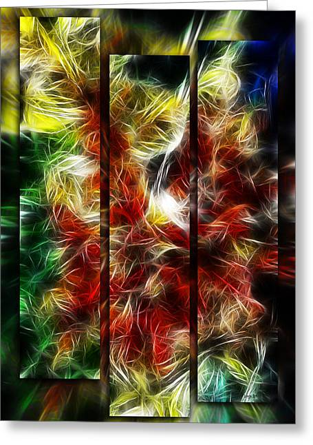 Greeting Card featuring the digital art Fire Dancers Triptych by Selke Boris