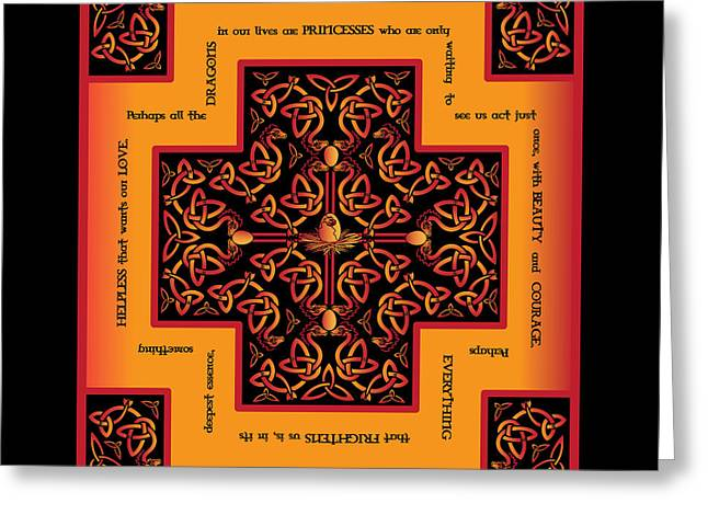 Fire Dragon Celtic Cross Greeting Card
