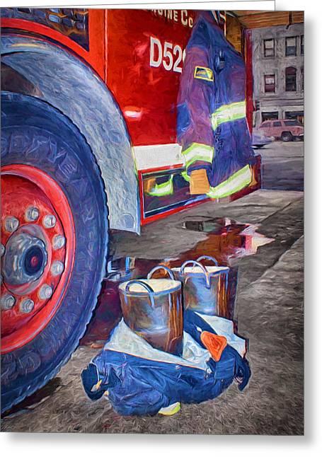 Fire Engine - Firemen - Equipment Greeting Card by Nikolyn McDonald