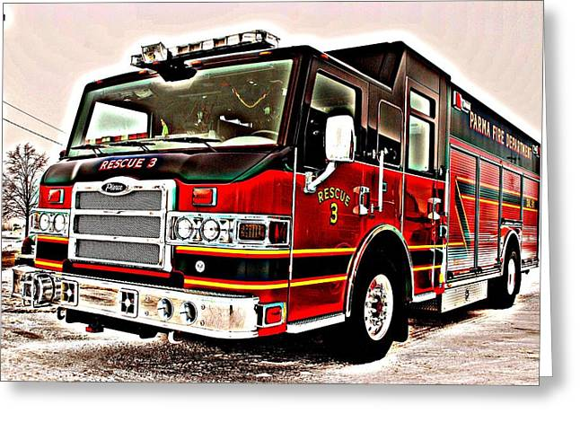 Fire Engine Red Greeting Card by Frozen in Time Fine Art Photography