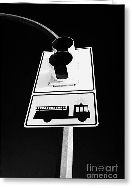 fire engine stop sign and signal Saskatoon Saskatchewan Canada Greeting Card by Joe Fox