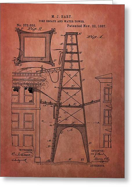 Fire Escape And Water Tower Patent Fireman Greeting Card by Dan Sproul
