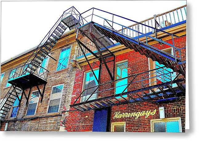 Fire Escape Reflections - Canada Greeting Card