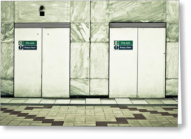 Fire Exits Greeting Card by Tom Gowanlock
