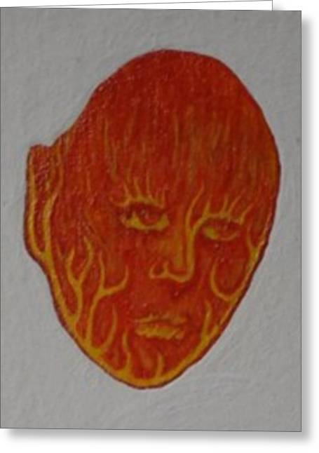Greeting Card featuring the painting Fire Face by Steve  Hester