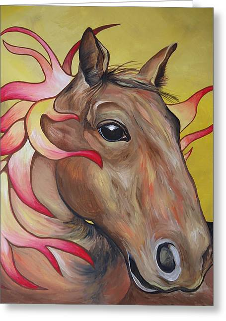 Fire Horse Greeting Card by Leslie Manley