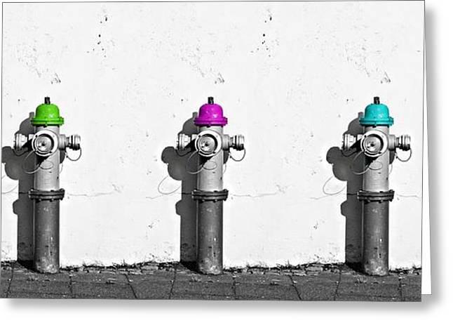 Fire Hydrants Greeting Card by Dia Karanouh