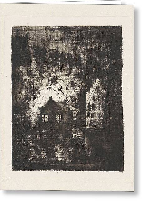 Fire In Brewery De Valk Amsterdam, The Netherlands Greeting Card