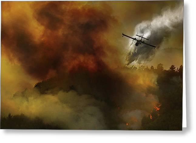 Fire In National Park Of Cilento (sa) - Italy Greeting Card