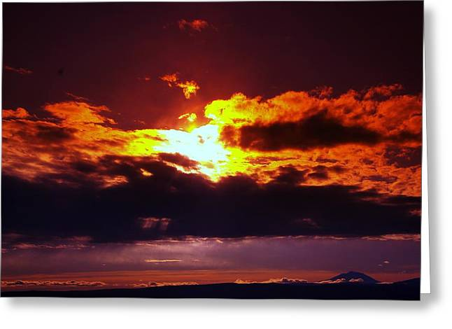 Fire In The Clouds Greeting Card by Jeff Swan