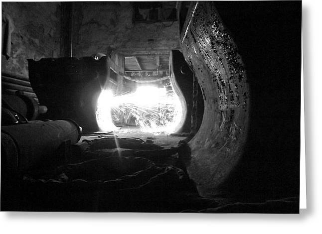 Fire In The Hole Bw Greeting Card