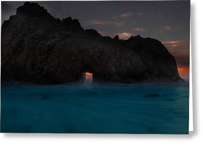 Fire In The Hole.... Big Sur Greeting Card by Tim Bryan