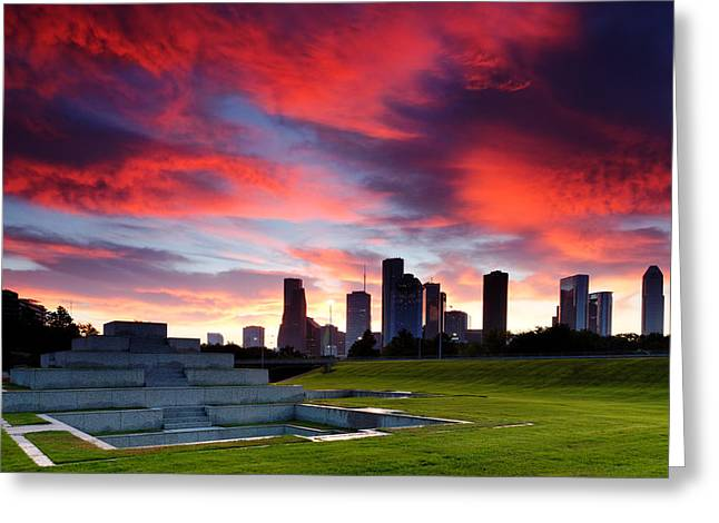Fire In The Houston Sky Greeting Card