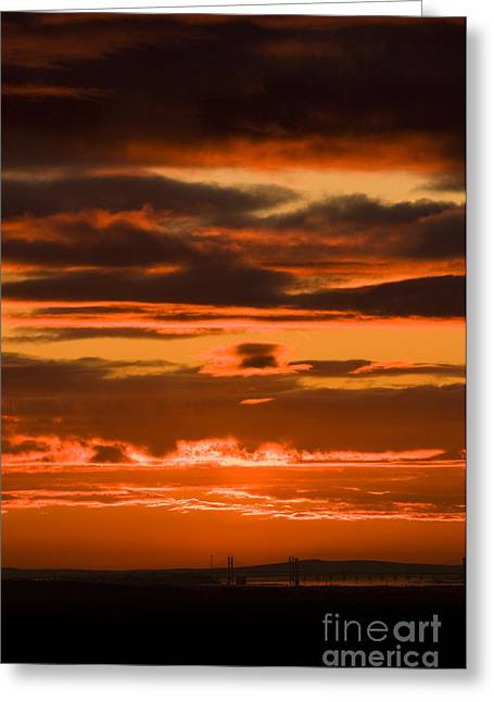 Fire In The Sky Greeting Card by Anne Gilbert
