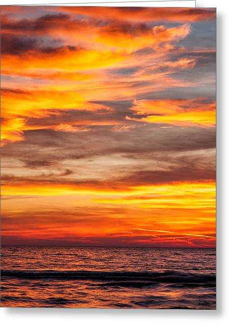 Fire In The Sky Greeting Card by Brian Boudreau