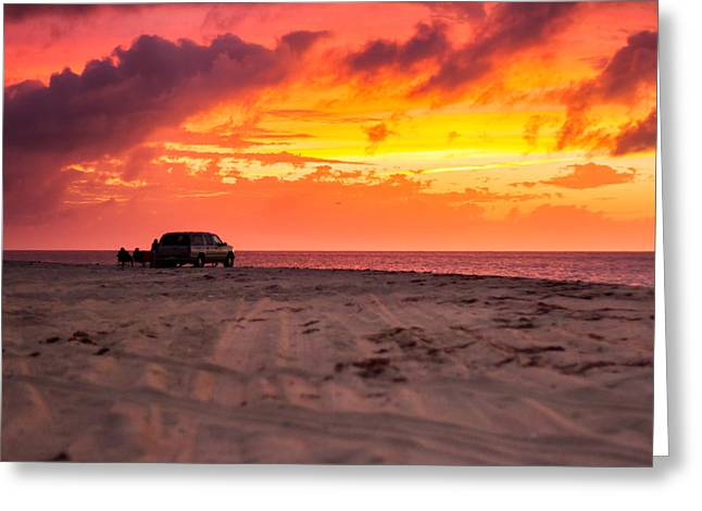 Fire In The Sky Greeting Card by Brian Caldwell