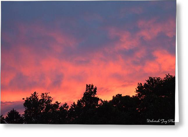 Fire In The Sky Greeting Card by Deborah Fay