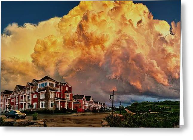 Fire In The Sky Greeting Card by Jeff S PhotoArt