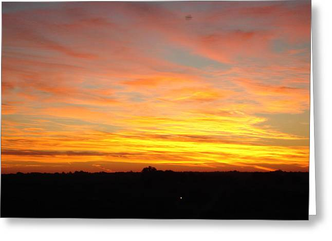 Greeting Card featuring the painting Fire In The Sky by J L Zarek