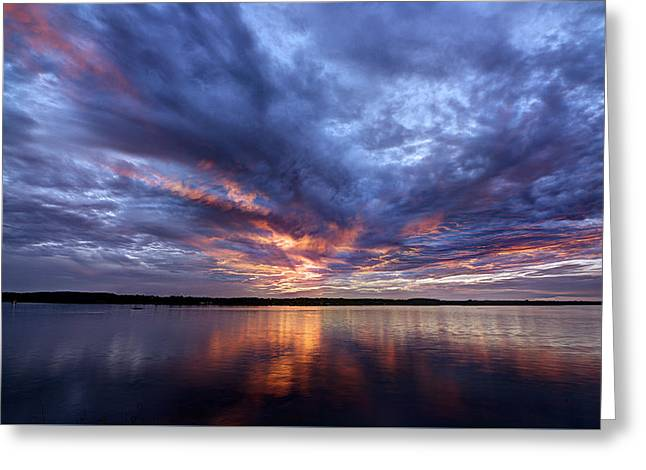 Fire In The Sky Sunset Over The Lake Greeting Card