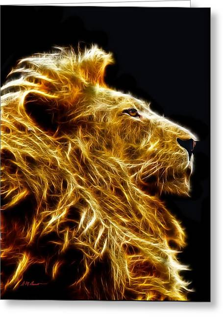 Fire Lion Greeting Card by Michael Durst