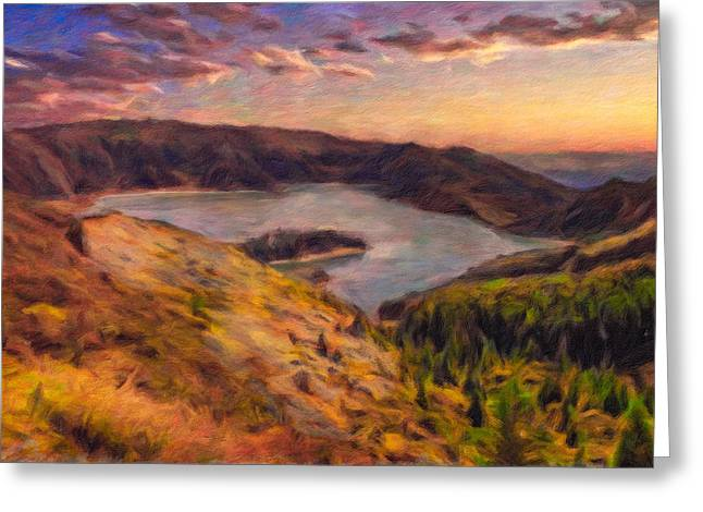 Fire Lake At Sunset Greeting Card