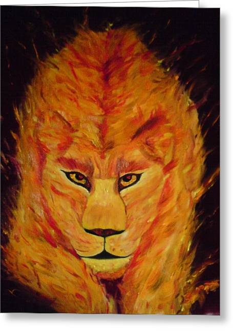 Fire Lioness Greeting Card by Persephone Artworks