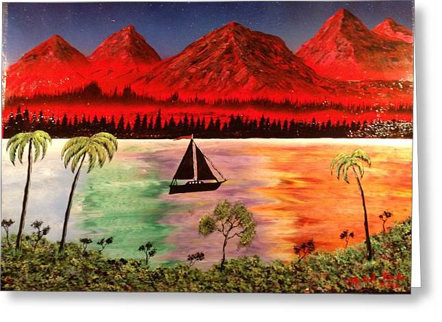 Greeting Card featuring the painting Fire Mountain by Michael Rucker