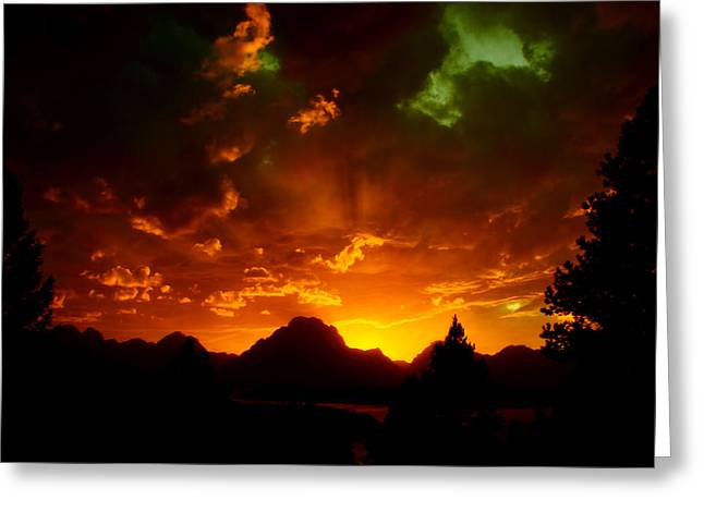 Fire On The Mountain - Grand Teton National Park Greeting Card