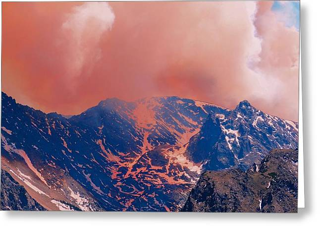 Fire On The Rocky Mountains Greeting Card by Dan Sproul
