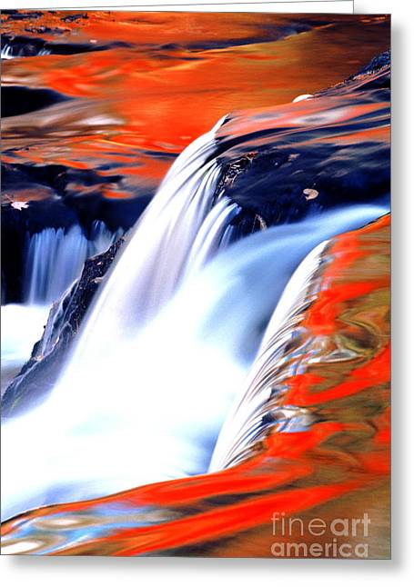Fire On Water Fall Reflections Greeting Card by Robert Kleppin