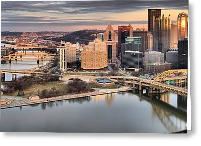 Fire Over The Pittsburgh Skyline Greeting Card by Adam Jewell