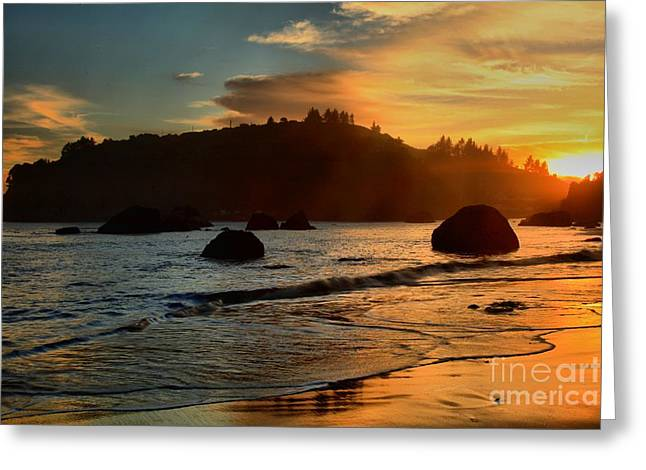 Fire Over Trinidad Beach Greeting Card by Adam Jewell