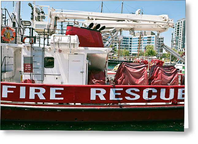 Greeting Card featuring the photograph Fire Rescue Boat by Marek Poplawski