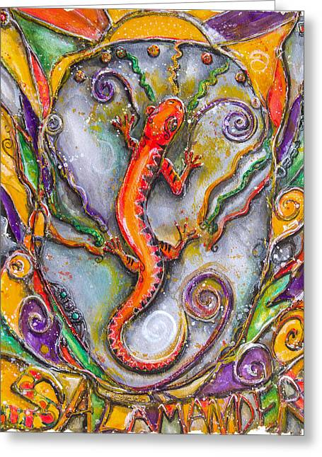 Fire Salamander - Children Of The Earth Series Greeting Card by Patricia Allingham Carlson
