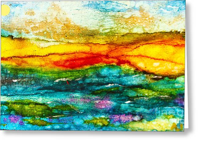 Fire Sky Greeting Card by Alene Sirott-Cope