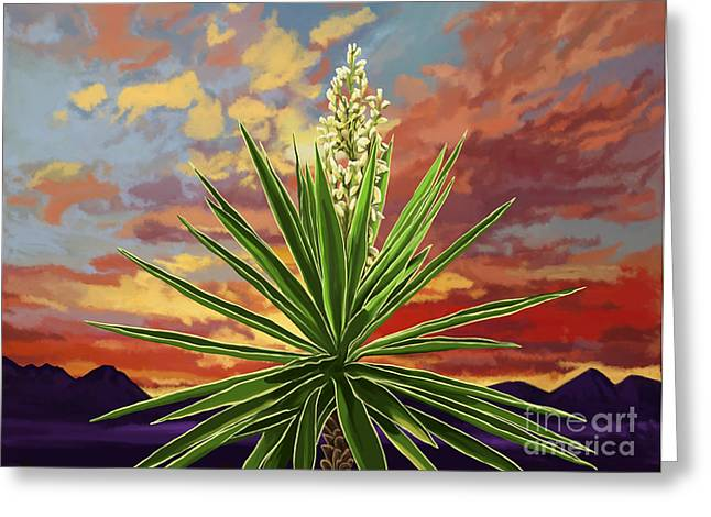 Fire Sky Desert Blooming Yucca Greeting Card