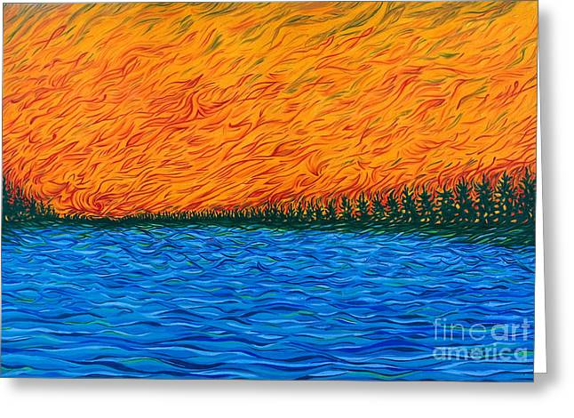 Fire Sky Over Lake Greeting Card by Jo-Anne Elniski