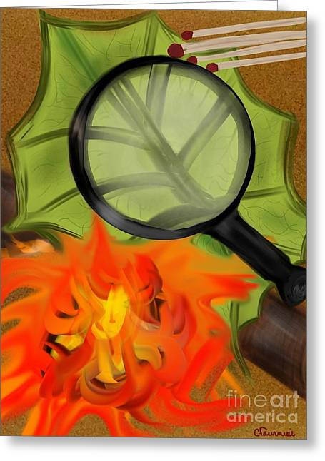 Fire Starter Greeting Card by Christine Fournier