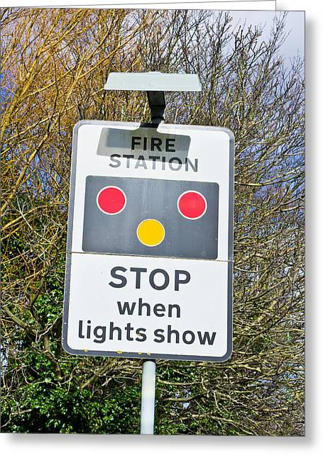 Fire Station Sign Greeting Card