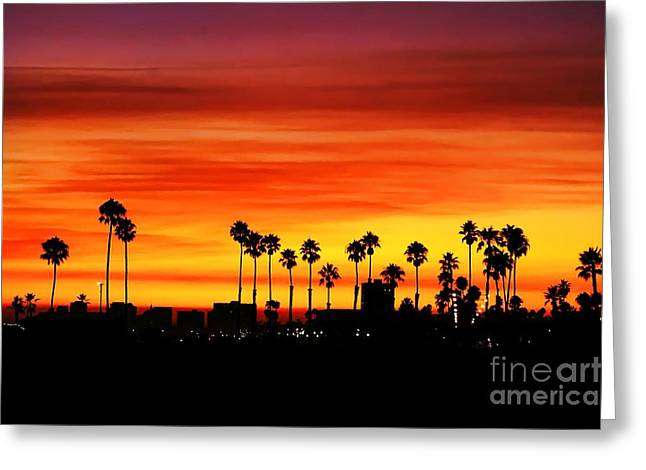 Greeting Card featuring the photograph Fire Sunset In Long Beach by Mariola Bitner